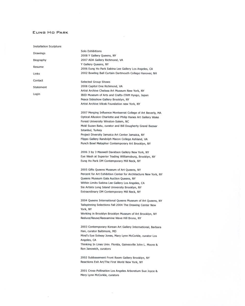Eung Ho Park's Resume, pg 1